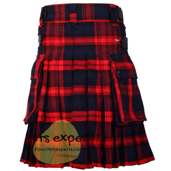 MacLachlan Tartan Leather Straps Utility Kilt - Kilt Experts