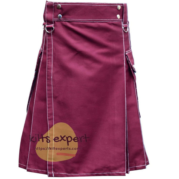 Maroon Utility Kilt With White Thread - Kilt Experts