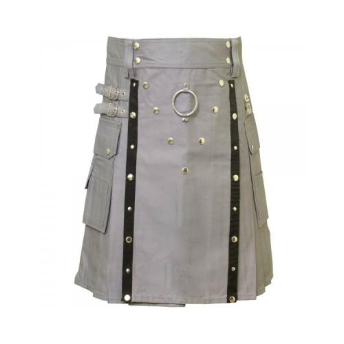 Men Scottish Grey Utility Kilt - Kilt Experts