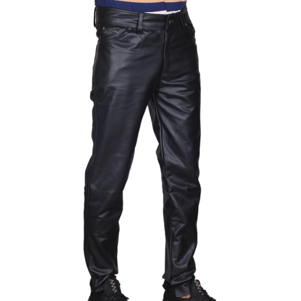 Men's Black Classic 5 Pocket Leather Pants