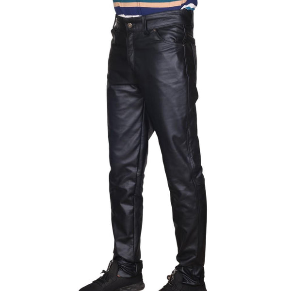 Men's Black Classic 5 Pocket Leather Pants - Kilt Experts