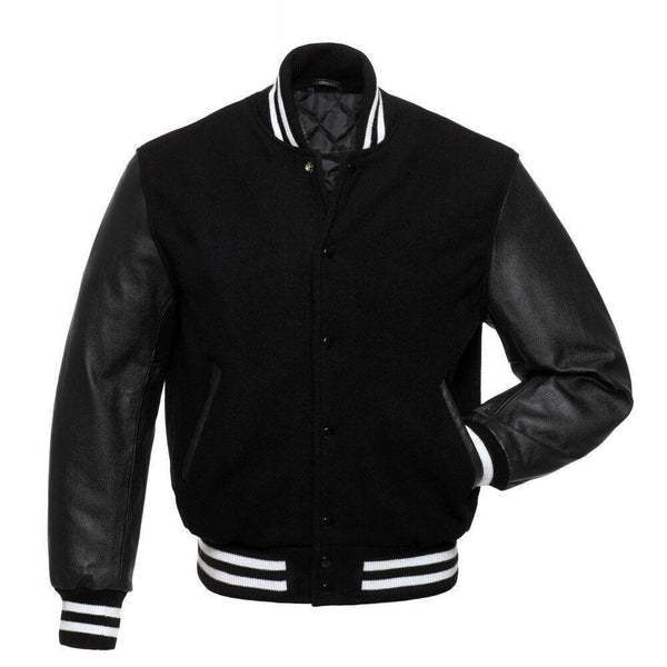 Men's Black Letterman Varsity Jacket - Kilt Experts