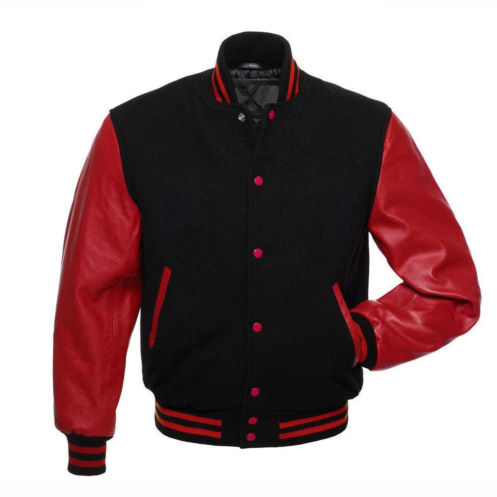 Men's Black/Red Letterman Varsity Jacket