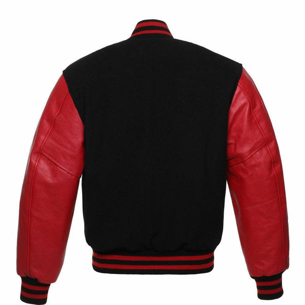 Men's Black/Red Letterman Varsity Jacket Kilt Experts