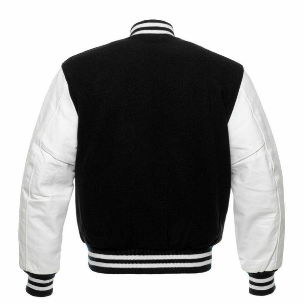 Men's Black/White Letterman Varsity Jacket - Kilt Experts