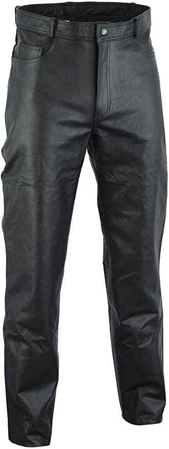 Mens Genuine Leather Black Pants