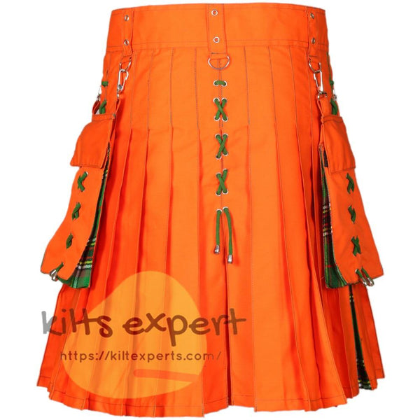 Men's Modern Orange & Tara Murphy Ancient Hybird Utility Kilt - Kilt Experts