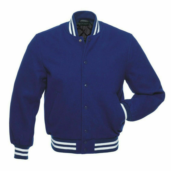 Men's Navy Blue High Quality Wool Letterman Varsity Jacket - Kilt Experts