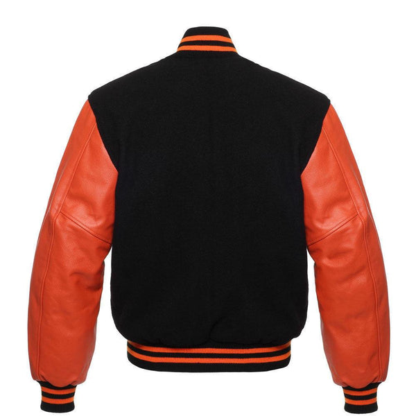 Men's Orange Leather Sleeves and Black Wool Letterman Varsity Jacket - Kilt Experts