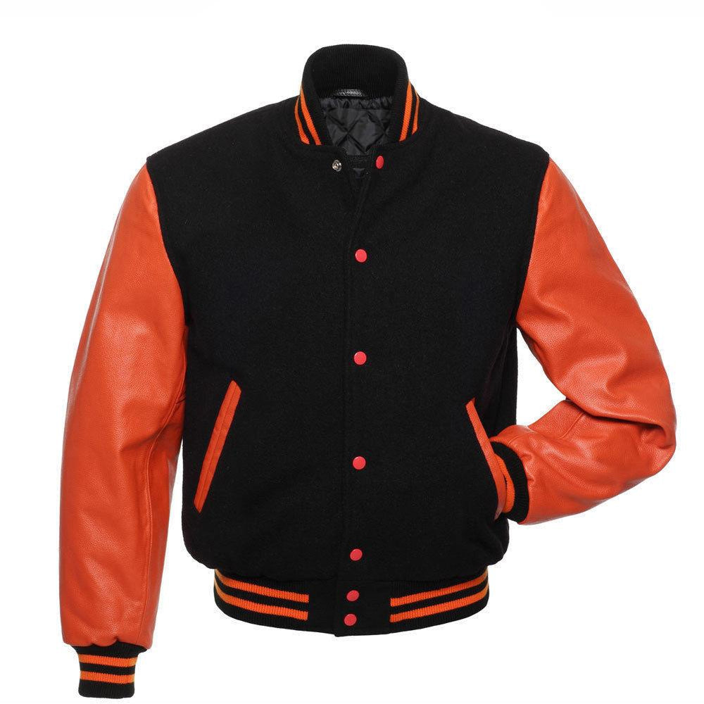 Men's Orange Leather Sleeves and Black Wool Letterman Varsity Jacket