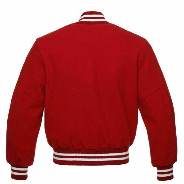 Men's Red High Quality Wool Letterman Varsity Jacket Kilt Experts