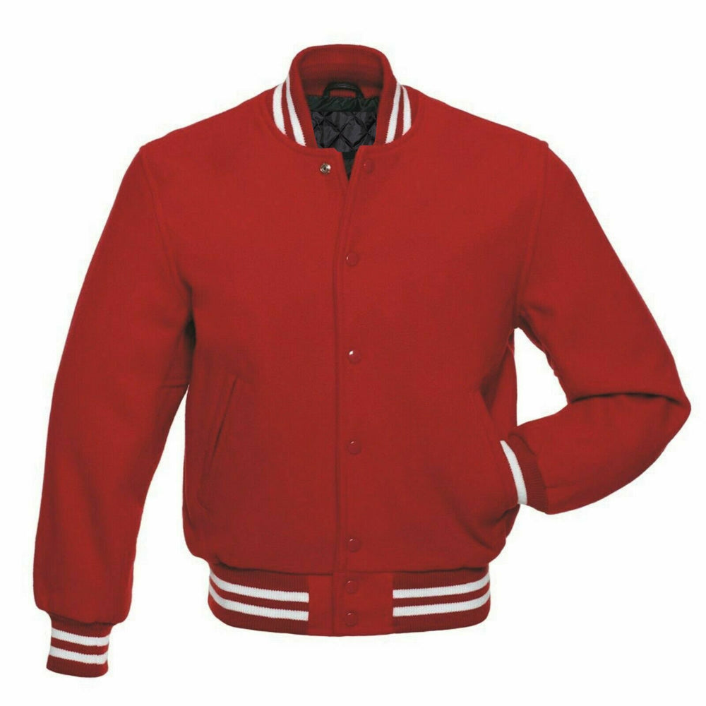 Men's Red High Quality Wool Letterman Varsity Jacket