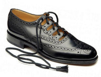Men's Scottish Black Synthetic Leather Ghillie Brogues Kilt Shoes