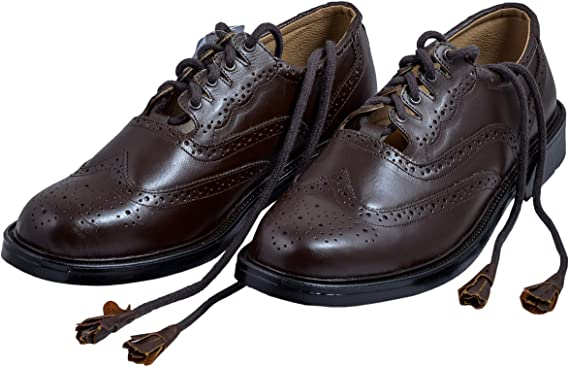 Men's Scottish Chocolate Brown Synthetic Leather Ghillie Brogues Kilt Shoes - Kilt Experts
