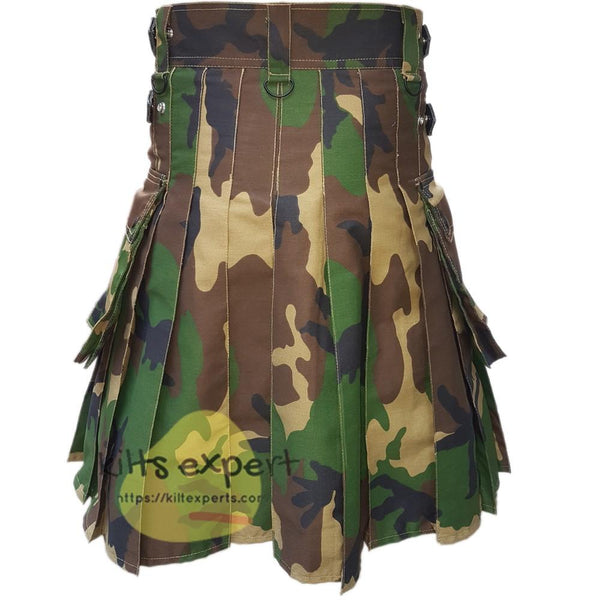 Military Woodland Camo Leather Straps Kilt Kilt Experts