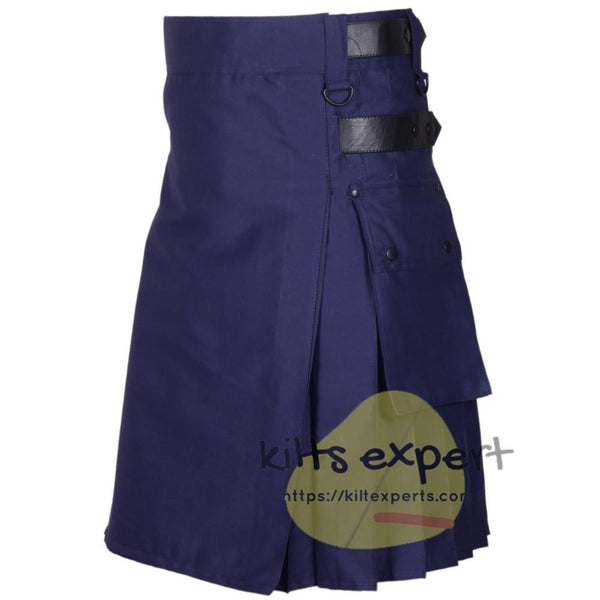 Navy Blue Leather Straps Utility Kilt For men - Kilt Experts