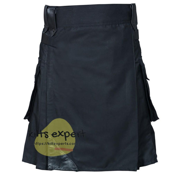 New Black Modern Leather Straps Kilt For Active Men - Kilt Experts