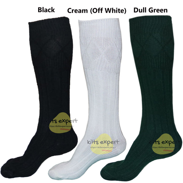 New Men's Scottish Highland Wear Long 65% Wool Kilt Hose Socks - Kilt Experts