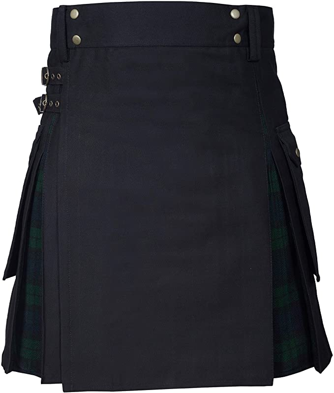 New Wedding Stylish Black Watch Hybird Kilt For Men's