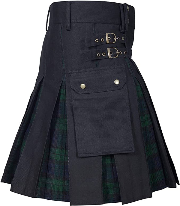 New Wedding Stylish Black Watch Hybird Kilt For Men's - Kilt Experts