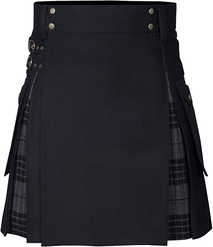New Wedding Stylish Dark Grey Highlander Hybird Kilt For Men's