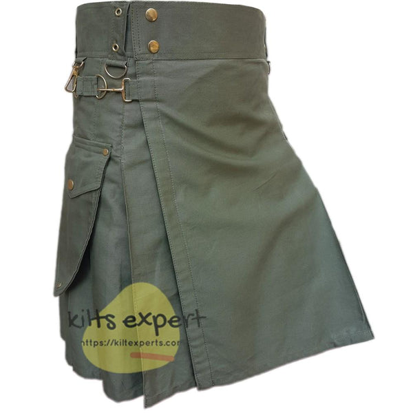 Olive Green Cargo Utility Kilt With Two Large Pockets - Kilt Experts