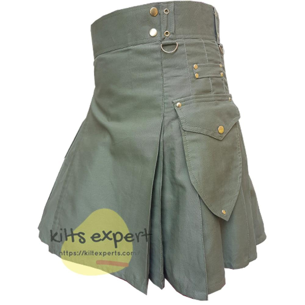Olive Green Cargo Utility Kilt With Two Large Pockets