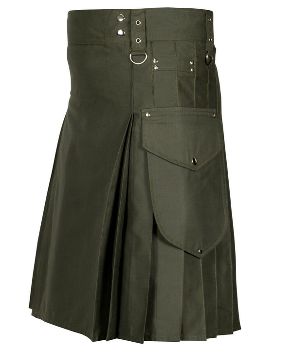 Olive Green Cargo Utility Kilts For Men - Kilt Experts