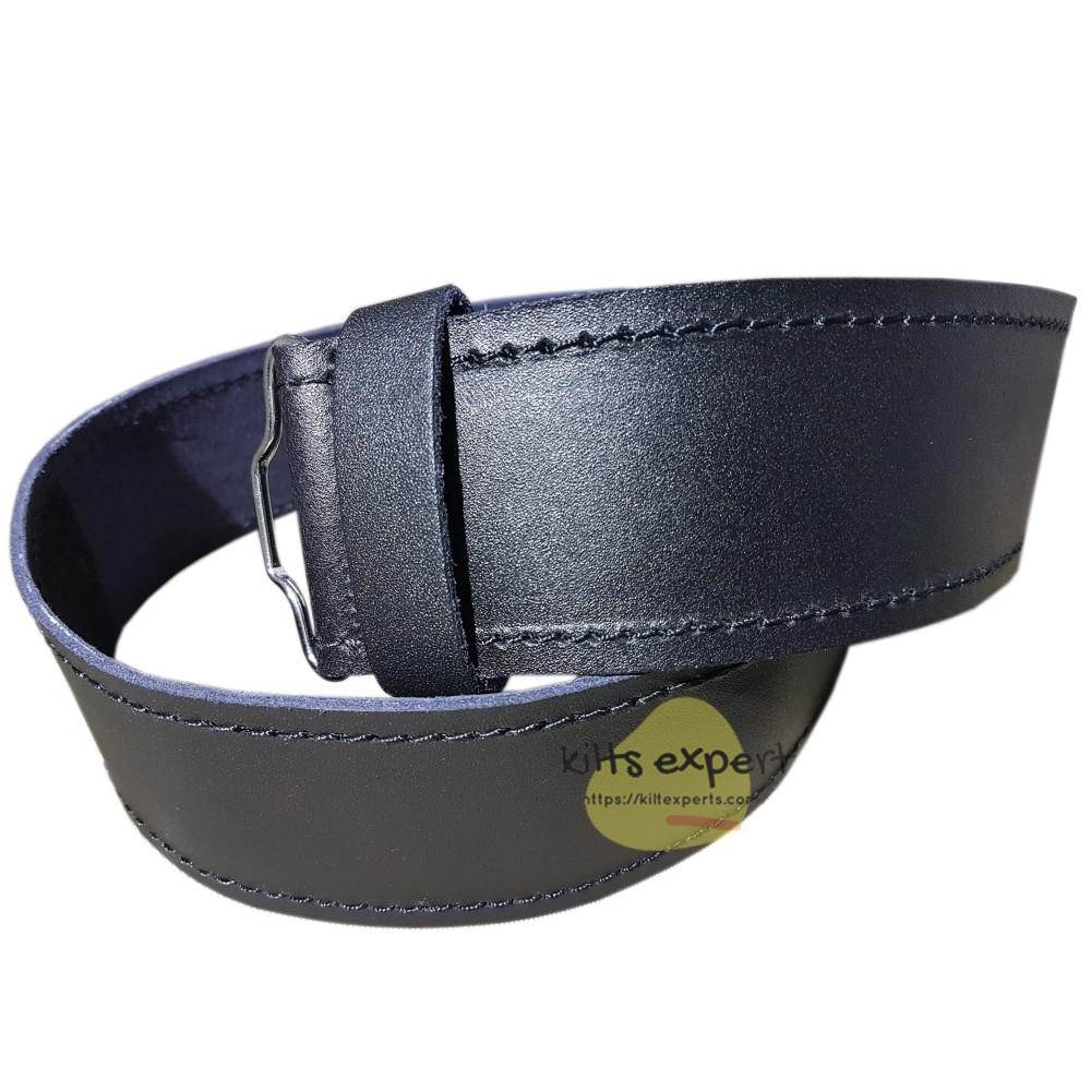 Plain Black Leather Kilt Belt