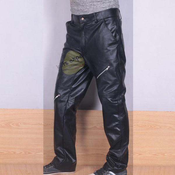 Pure Cowhide Leather Cargo Pant - Kilt Experts