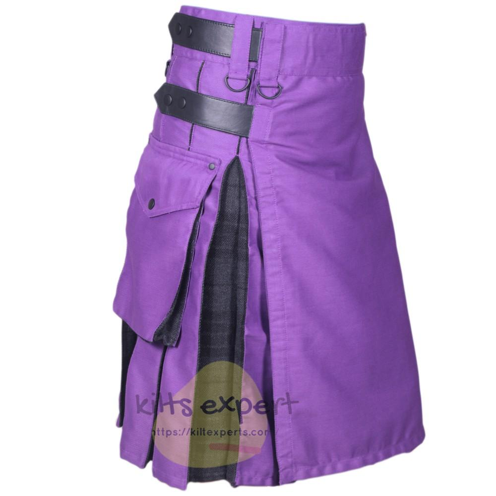 Purple & Dark Grey Highlander Two Tone Hybird Kilt