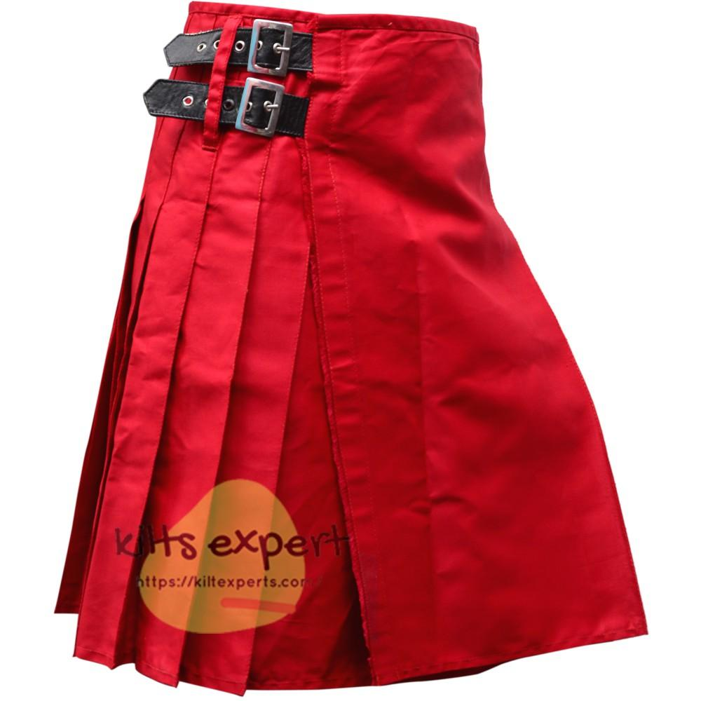 Red Tartan Style Utility Kilt For Men