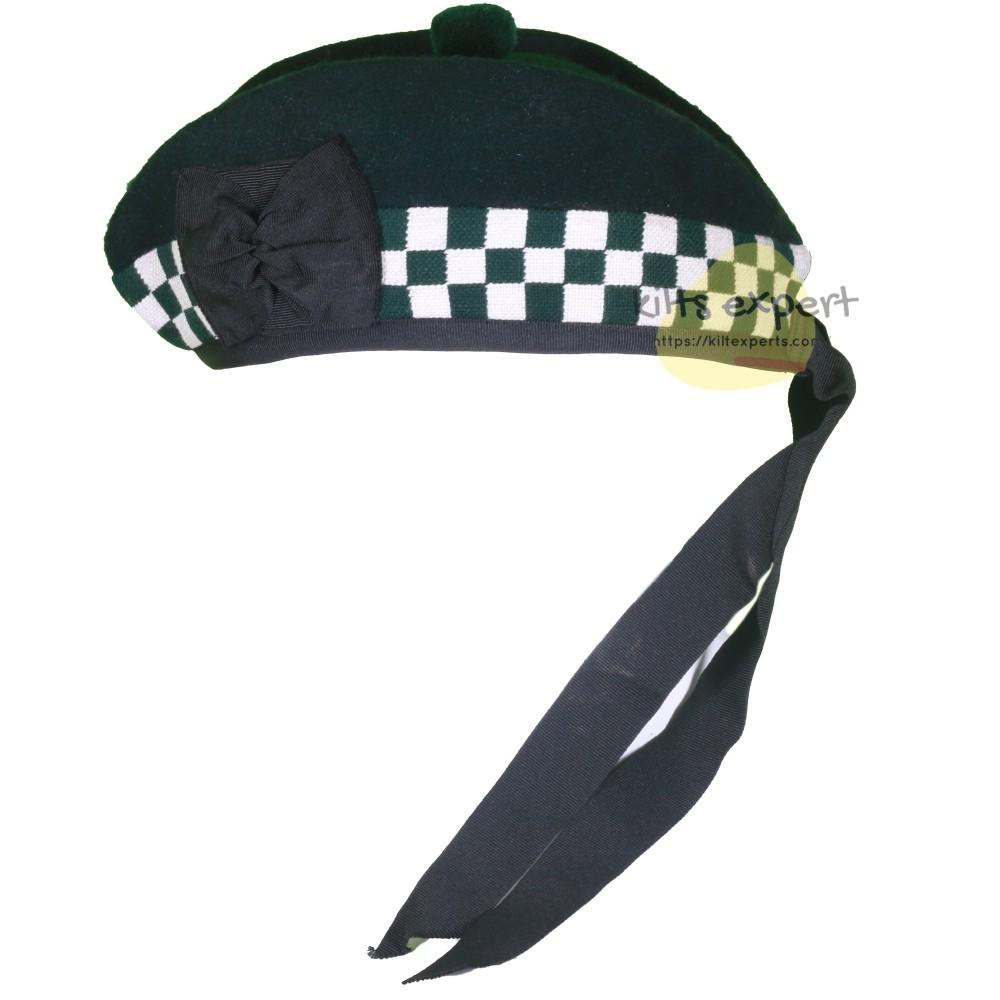 Scottish Traditional Green & White Dice Glengarry Hat