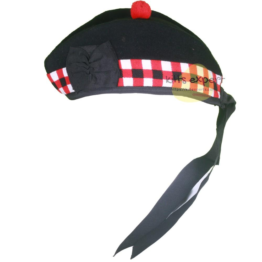 Scottish Traditional Red-White-Black Dice Glengarry Hat