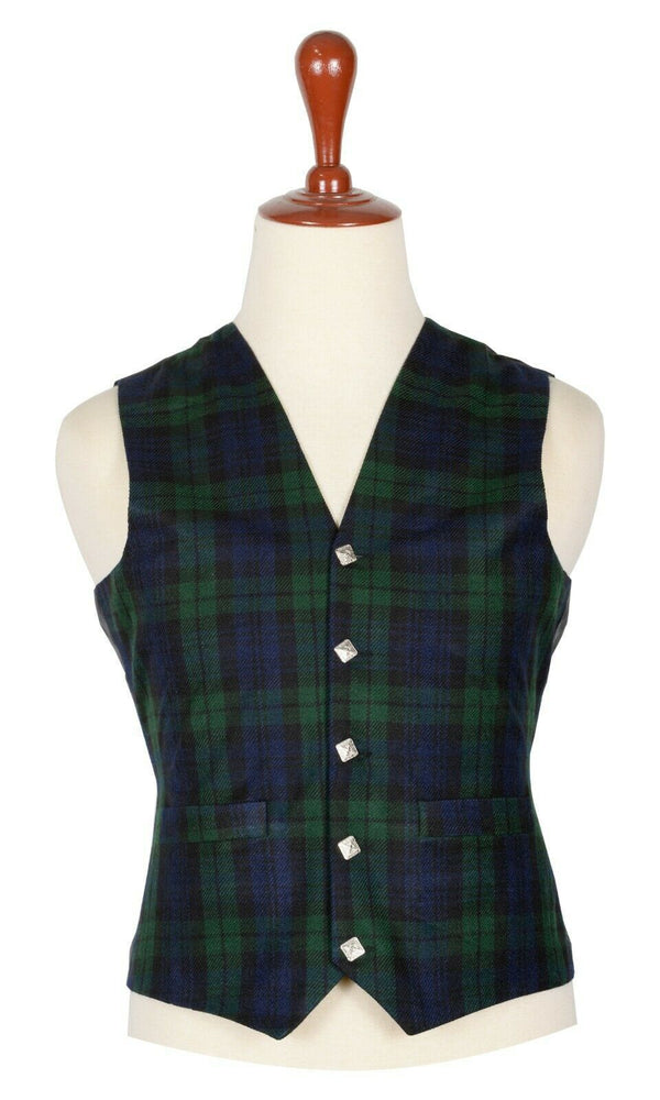 Traditional Scottish Black Watch 5 Buttons Tartan Waistcoat / Plaid Vest