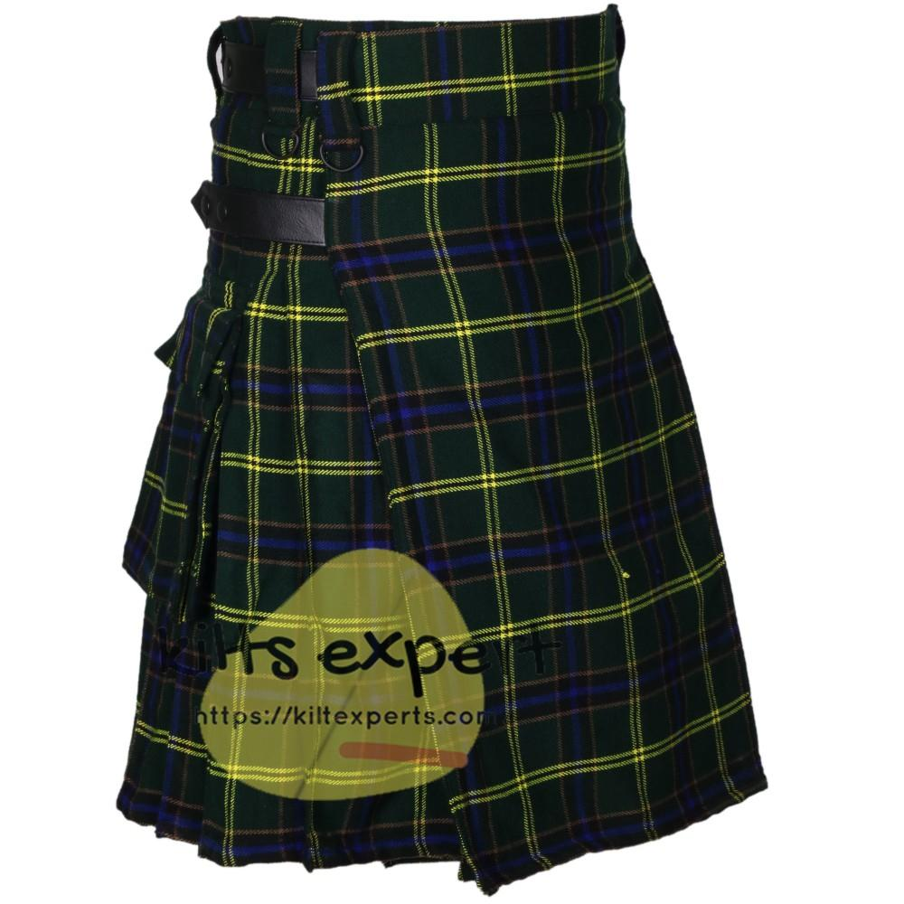 US Army Tartan Acrylic Wool 16OZ Leather Straps Kilt