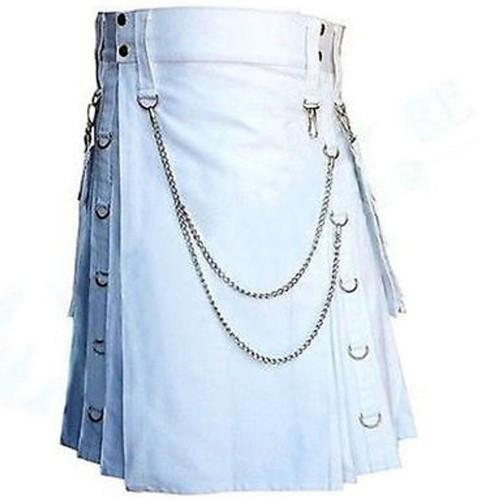White Fashion Wedding Removable Pockets Kilt With Chains - Kilt Experts