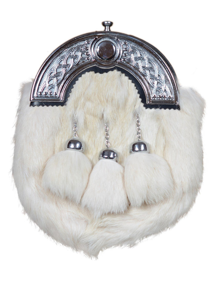 White Rabbit Fur 3 Teasel Sporran With Chain Belt