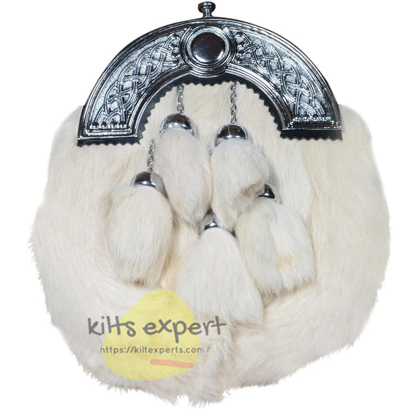 White Rabbit Fur 5 Teasel Sporran With Chain Belt - Kilt Experts