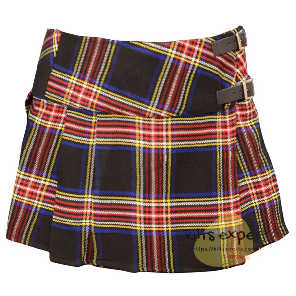 Women's Black Stewart Tartan Kilts - Kilt Experts