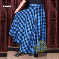 Women's Long Plaid Skirt - Button Zipped