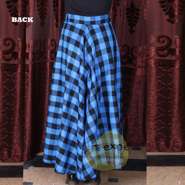 Women's Long Plaid Skirt - Button Zipped - Kilt Experts