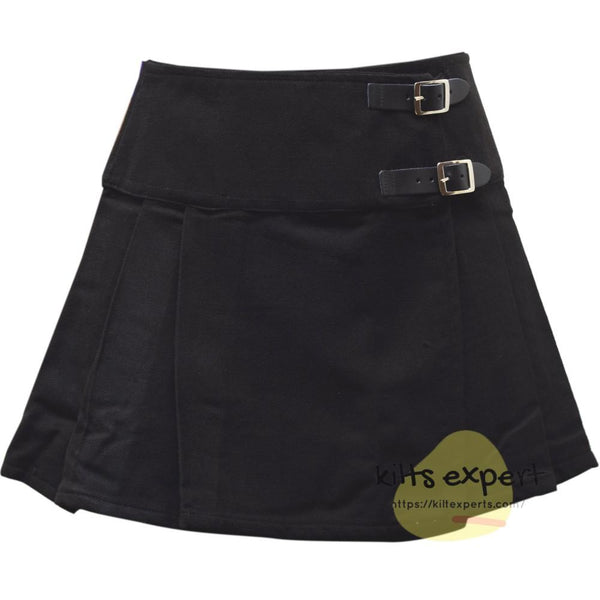 Women's Plain Black Tartan Kilts - Kilt Experts