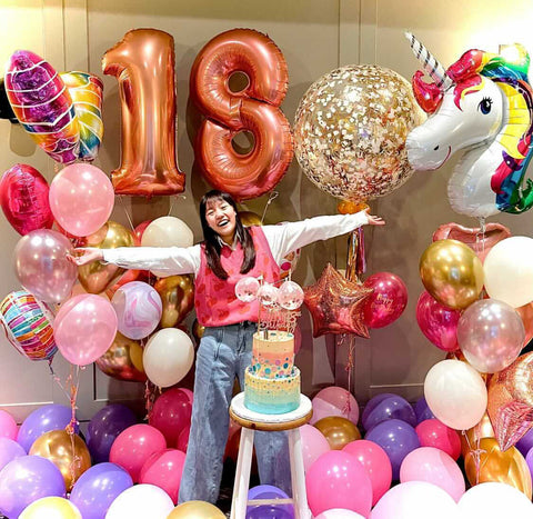 Birthday Balloon Bouquet packages in background