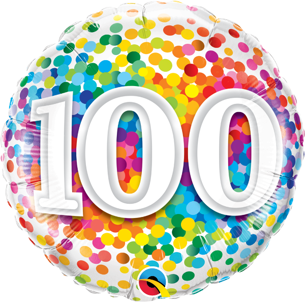 100th Rainbow Confetti Balloon