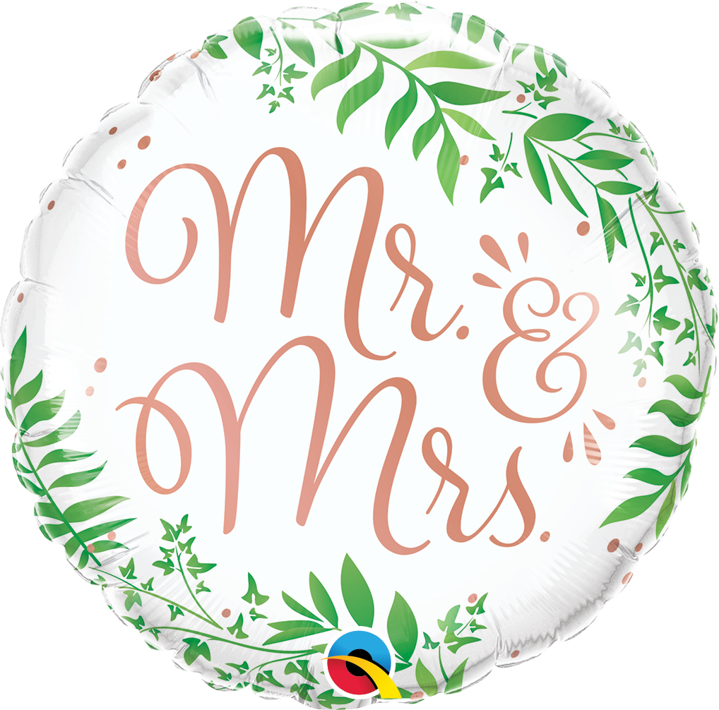 Mr. & Mrs. Elegant Greenery Balloon