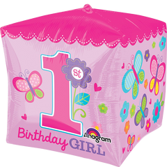 1st Birthday Girl Cube Balloon