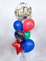 Congrats Grad Stars & Dots Bubble Balloon Package