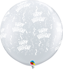 Happy Birthday Print Diamond Clear 3 ft. Balloons