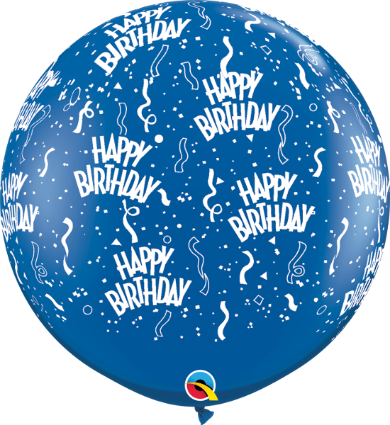 Happy Birthday Print Jewel Sapphire Blue 3 ft. Balloons
